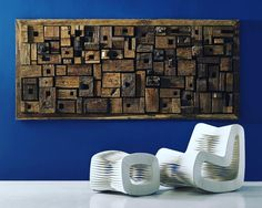 Hot off the press | just got this amazing shot and I had to share it right away!  @PhillipsCo creates design that create WOW moments for a space. The #AskenWallPanel is crafted out of #recyled wood scraps collaged together #PhillipsCo #furniture #interiordesign #blue #amazing | thanks @rachaelbozsik for the buzz! by marcomcdonough