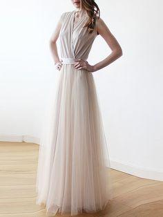Champagne Plain Sleeveless Swing V Neck Maxi Dress
