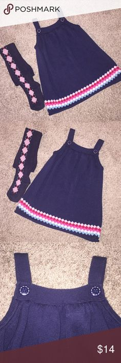 Cute Gymboree Jumper with Matching Tights Size 2-3 Cute Gymboree Jumper size 2 Navy with cute design EUC! Matching Tights Size 3-4 ( some wash wear) Good Condition by Gymboree as well. Gymboree Dresses