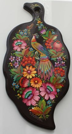 Ukrainian Handmade wooden cutting board beech with Petrykivka Painting Fol Size Famous Petrykivka painting is a visiting card of Ukraine. Modern Petrykivsky ornament contains plant, mainly floral. There are the motives such as garden and grassla Russian Painting, Russian Art, Folk Art Flowers, Flower Art, Hamsa Design, Polish Folk Art, Diy Cutting Board, Seascape Art, Ukrainian Art