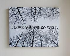Print - Dave Matthews Band Original Quote Painting - I Love You Oh So Well Lyrics 8 x 10 Art - Snowy Trees Artwork. $19.50, via Etsy.