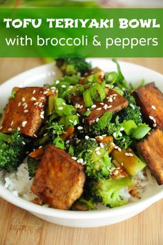 Tofu Teriyaki Bowl with Broccoli and Peppers - I love this dish! It's quick and easy to make, it's healthy and it's delicious! The perfect meal for lunch or dinner.