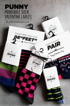 Pin for Later: Your Valentines Are Going to Love These Punny Printable Sock Labels  Do you get your kids/family anything for Valentine's Day?