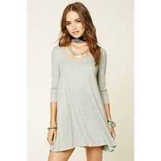 Forever 21 Women's  Ribbed Knit Swing Dress ($15) via Polyvore featuring dresses, forever 21 dresses, white dress, white tent dress, forever 21 and white day dress