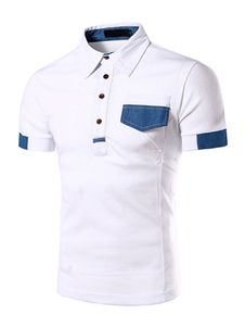 White Buttons Chic Cotton Polo Shirt for Men