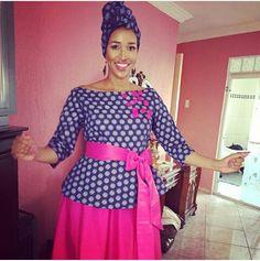pictures for shweshwe dresses 2019 - style you 7 African Dresses For Women, African Print Dresses, African Attire, African Wear, African Fashion Dresses, African Style, Sepedi Traditional Dresses, Traditional Wedding, Maka
