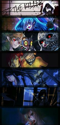 Jeff the Killer, Candy Pop, Ben Drowned, Jason the Toy Maker, Nathan the Nobody, The Puppeteer, Eyeless Jack, text; Creepypasta