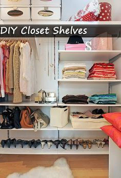 Closet shelves DIY - Organize Your Room Bedroom Furniture Sets Master Closet, Closet Bedroom, Master Bedroom, Wardrobe Closet, Closet Space, Diy Bedroom, Huge Closet, Closet Rod, Master Suite