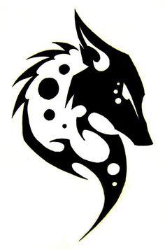 loup tribal en noir et blanc en tant que modèle de tatouage