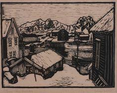 Block Prints, Art Prints, Woodblock Print, Printmaking, Norway, Illustrators, Folk Art, Doodles, Auction