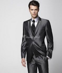 Cheap vest boy, Buy Quality vest knit directly from China vest womens Suppliers: 2016 Groom Tuxedo Groomsmen Shiny Charcoal Gray Wedding/Dinner/Evening Suits Best Man Bridegroom (Jacket+Pants+Tie+Vest) Charcoal Grey Weddings, Gray Weddings, Charcoal Gray, Groom Tuxedo, Tuxedo For Men, Tuxedo Colors, Groomsmen Grey, Dinner Suit, Elegant Man
