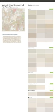 Mother Of Pearl Hexagon 2 x 2 Flat Accents. Ocean Jewels. Trendy mosaics. Daltile. Behr. Valspar Paint. PPG Paints. Ralph Lauren Paint. Sherwin Williams. Olympic.  Click the gray Visit button to see the matching paint names.