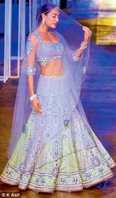 mint green lavender lehenga choli
