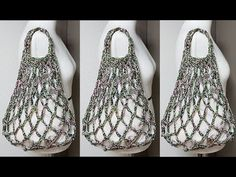 Crochet Shell Stitch, Single Crochet Stitch, Net Bag, Finger Knitting, Reusable Shopping Bags, Craft Bags, Crochet Handbags, Crochet Videos, Market Bag