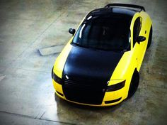 Color change on this Audi TT. Matte Yellow and Satin Black.