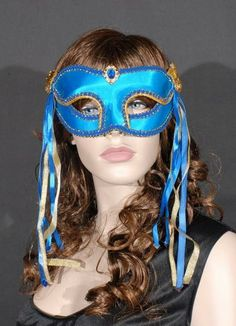 Blue and Gold Satin Masquerade