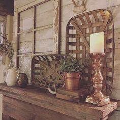 Love this picture by @rustic_farmhouse! Looks fabulous! Find your tobacco… Rustic Mantle Decor, Mantles Decor, Mantle Ideas, Rustic Farmhouse Decor, Farmhouse Mantel, Farmhouse Style, Decorate Mantle, Farmhouse Baskets, Rustic Pictures