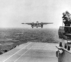 The aircraft carrier Hornet had 16 AAF B-25s on deck, ready for the Tokyo Raid. (U.S. Air Force photo)