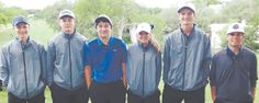 Hayden Chall (l-r), Luke Moczygemba, Ricky Utt, Shawnee Allen, John Hill, and Rusty Story represent La Vernia High School at the state golf tournament in Austin. Sophomore Allen won the girls individual championship, while Story, Hill, Chall, Utt, and Moczygemba combined to finish seventh in the boys team standings.