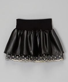 Another great find on #zulily! Black Faux Leather Layered Skirt - Toddler & Girls #zulilyfinds