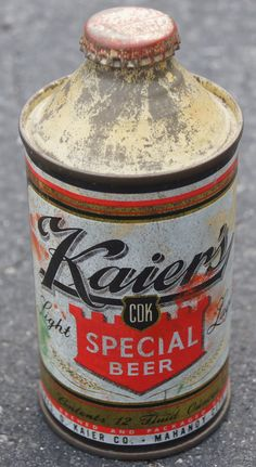 Kaisers Beer. I remember when beer, soda, oil, and brake fluid came in cans like this for a while in the 1950's.