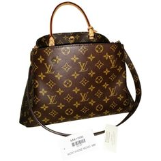 Pre-owned Louis Vuitton Medium Lv Montaigne Mm Canvas Monogram Tote... ($2,200) ❤ liked on Polyvore featuring bags, handbags, tote bags, canvas monogram, brown canvas tote, canvas tote, brown tote, louis vuitton tote bag and louis vuitton