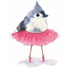 Ballet Bird Watercolor Print - Tufted Titmouse, Ballet Art, 5x7... (37 PLN) ❤ liked on Polyvore featuring home, home decor, wall art, animals, art, bird, filler, bird illustration, ballerina wall art and bird paintings