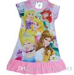 2015 New Girl Dress Cartoon Short Sleeve Dresses Princess Multicolor Girls Nightdress Online with $257.5/Piece on Comely2015's Store | DHgate.com Girls Fancy Dresses, New Girl, Short Sleeve Dresses, Cartoon, Princess, Store, Storage, Cartoons, Princesses