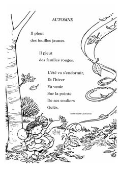 French Language Lessons, French Language Learning, Teaching Language Arts, French Lessons, Fun Fall Activities, Preschool Learning Activities, Poems About School, French Poems, French Worksheets
