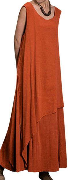 US$ 20.73 Gracila Vintage Layered Irregular Sleeveless O-neck Maxi Dress For Women