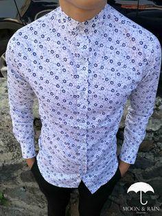Camisas Platino de cuello mao en México |Diseño Floreado por Moon & Rain Sharp Prints, Designer Suits For Men, Moda Chic, Dapper Men, Mens Suits, Printed Shirts, Shirt Style, Casual Shirts, Shirt Designs