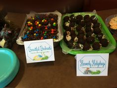 Bird nest made from chocolate covered chow mien noodles and donut hole hedgehogs for woodland baby shower