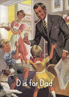 """D"" is for 'Dad' ~ Vintage Children's ABC Flash Card"