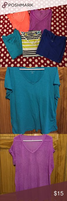 Lane Bryant and Calvin Klein T-shirts, Plus Size 2 Calvin Klein t-shirts - purple & orange and 3 Lane Bryant t-shirts - dark blue, teal & striped. All plus size-22/24 and XXL Lane Bryant Tops Tees - Short Sleeve