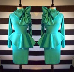 Nicci Hou peplum bow dress in Tiffany blue... To die