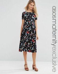 52b15164dc ASOS Maternity Floral Midi Dress Asos Maternity