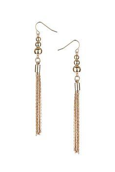 Gold Ball And Tassel Drop Earrings $5.00