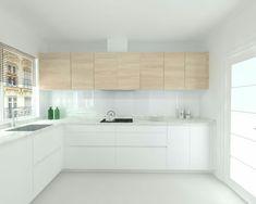 Modern Kitchen Cabinets, Ikea Kitchen, Modern Kitchen Design, Living Room Kitchen, Home Decor Kitchen, Kitchen Interior, Custom Kitchens, Home Kitchens, Small U Shaped Kitchens