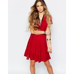 Glamorous Belted Tea Dress (€39) ❤ liked on Polyvore featuring dresses, cherry, red waist belt, red belted dress, v neck dress, red v neck dress and red dress