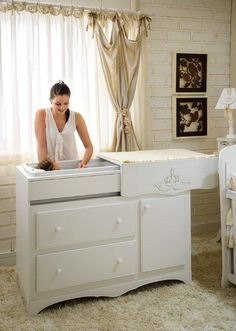 Changing Table Cabinet With Bathtub Baby Boy Rooms, Baby Bedroom, Nursery Room, Kids Bedroom, E Room, Baby Doll Accessories, Baby Kit, Dream Baby, Baby Furniture