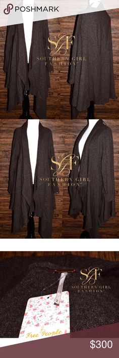 FREE PEOPLE Cardigan Slouchy Draped Sweater Jacket Size Medium. New With Tags. $168 Retail + Tax.  • Beautiful open front dark brown cardigan featuring long sleeves & intentional uneven knitted eyelet detailing throughout.  • Draped, high-low asymmetrical hem. • Slouchy, oversized fit with pockets at front. • Measurements + additional details in comment(s) below.  {Southern Girl Fashion - Closet Policy}   ✔️ Same-Business-Day Shipping (10am CT). ✔️ Reasonable best offer considered when…