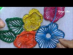Hand Embroidery Work Designs # 100-Ruffle button hole Stitch flower Designs
