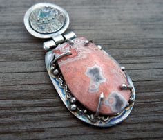 Crazy Lace Agate and silver hinged pendant by MandanaStudios, $210.00