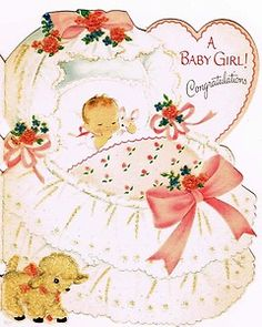 Baby Girl Picture Vintage Greeting Card Bassinet Bow Glitter Lamb Norcross