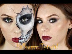 Cracked Skull Skeleton Halloween Makeup Tutorial   2 Looks In 1   The Goodowl - YouTube