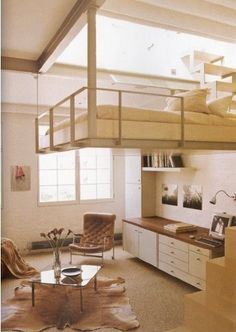 Suspended bed in loft