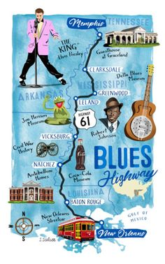 The 510 miles from Memphis to New Orleans, along the Mississippi River, via Highway 61 is filled with rich history, American culture, and breathtaking views. Though 'Blues Aficionados' will American Cruise Lines, American Cruises, Mississippi River Cruise, Mississippi Delta, Mississippi Roast, Mississippi Tourism, Nashville, Las Vegas, Rock Poster
