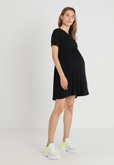 e458c9f54f MATERNITY NURSING BUTTON SMOCK DRESS - Sukienka z dżerseju - black    Zalando.pl 🛒