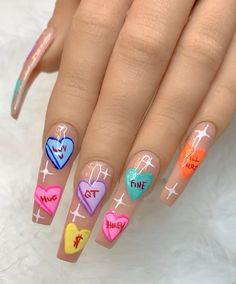 🍬💗SWEET HEARTS🍬💗 Nude acrylic nails with hand painted Valentine's Day candy hearts, phrases, and twinkles Edgy Nails, Grunge Nails, Stylish Nails, Funky Nails, Swag Nails, Crazy Nails, Halloween Acrylic Nails, Best Acrylic Nails, Cute Acrylic Nail Designs