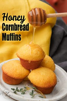 These honey cornbread muffins have the sweetness of all-natural honey with Jiffy corn muffin mix. Ready in about 25 minutes, they're a perfect breakfast! Jiffy Recipes, Jiffy Cornbread Recipes, Rock Crock Recipes, Honey Recipes, Chef Recipes, Family Recipes, Sweet Jiffy Cornbread, Honey Cornbread, Dessert